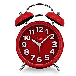 Slash 4 Vintage Retro Old Fashioned 3D Numerals Quiet Non-ticking Sweep Second Hand, Quartz Analog Twin Bell Clock, Battery Operated, Loud Alarm, Nightlight Function (Red)