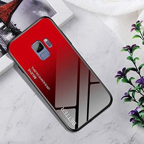 あなたの携帯電話を保護する Galaxy S9の耐衝撃性強化ガラス+ TPUケース (色 : Black red)