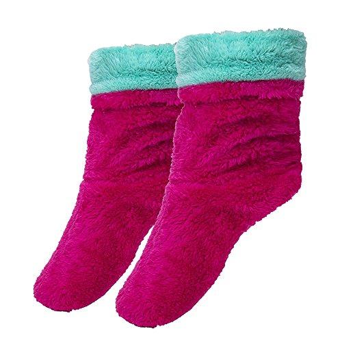Fralosha women's indoor anti slip shoes ladies winter home soft plush boots Green