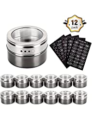 Magnetic Spice Tins - Stainless Steel Magnetic Spice Rack Magnetic on Fridge Spice Jars Organizer Condiment Container Set Pack of 12 with 120 Spice Labels Clear Lid with Sift & Pour for Small Kitchens