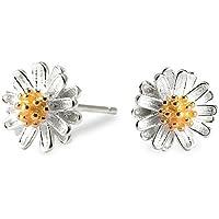 Daisy Earrings Studs 925 Sterling Silver Light Weight Elegant Small Earrings Jewelry for Girls Women (Silver)