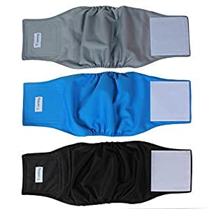 Teamoy Reusable Wrap Diapers for Male Dogs, Washable Puppy Belly Band Pack of 3 (M, 13''-16''Waist, Black+ Gray+ Lake Blue)
