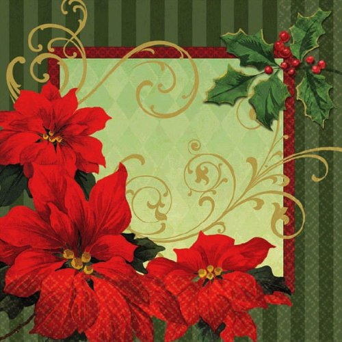 - Amscan Vintage Poinsettia Beverage Napkins Christmas Party Tableware (36 Pieces), Red/Green, 5