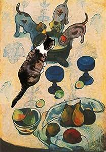 """Paul Gauguin's Cat Art Prints, 8 1/2"""" X 11"""" Giclee Print / 11"""" X 14"""" Textured White Mat, By Deborah Julian"""