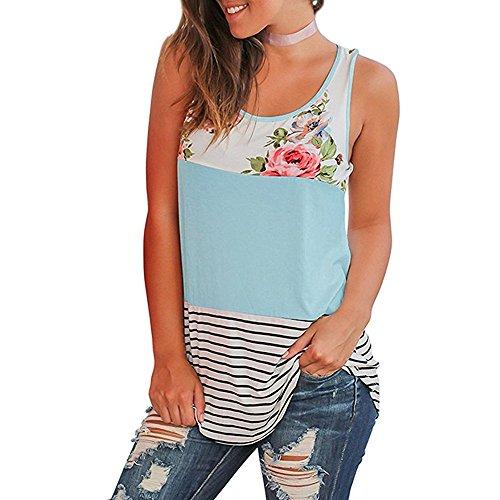 Women Casual Floral Stripe Print Patchwork Sleeveless Tank Top Vest Blouse