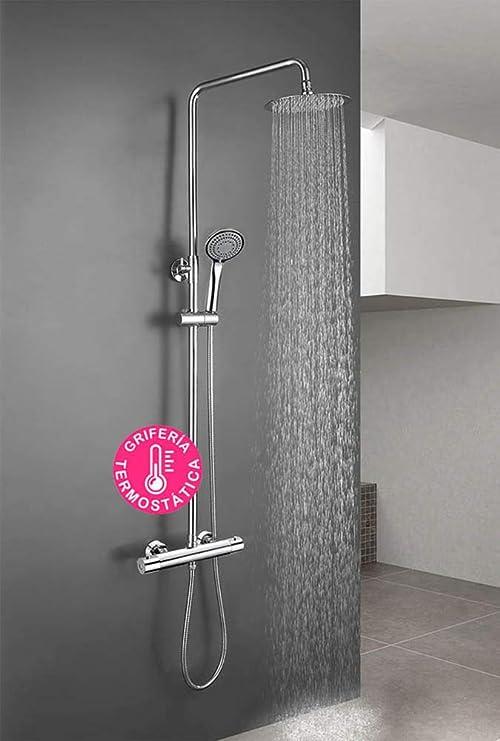 Columna de ducha termostática diseño redondo, con tubo extensible ...