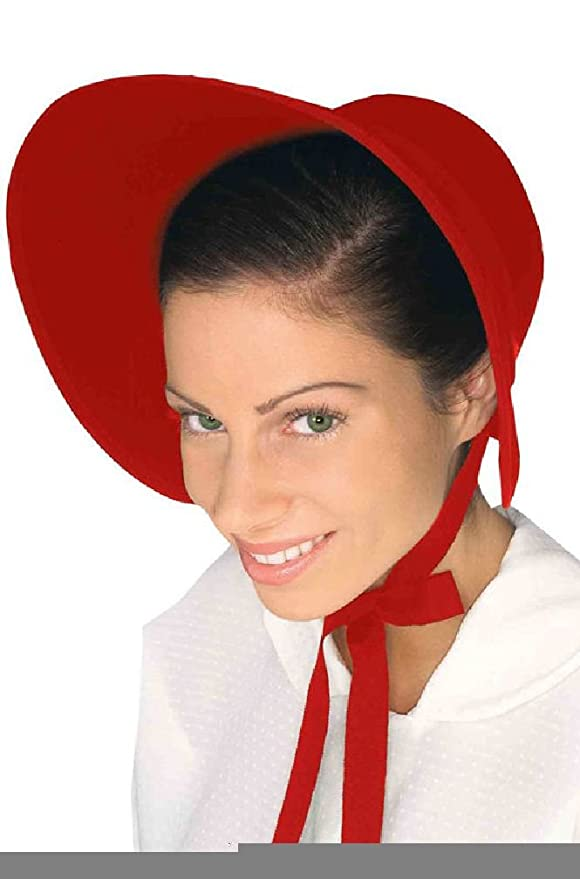 Victorian Style Hats, Bonnets, Caps, Patterns  Felt Bonnet Costume Accessory - Red $13.99 AT vintagedancer.com