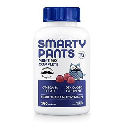 SmartyPants Men's Complete Gummy Vitamins: Multivitamin, CoQ10, Lycopene, Methyl B12, Omega 3 EPA/DHA Fish Oil, 180 count (30 Day Supply)