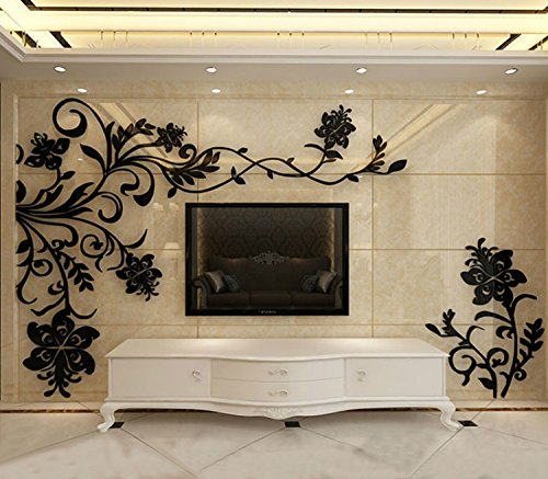 Alrens(TM)Luxury Flowers Vine Acrylic Crystal 3D Three-dimensional Wall Stickers Living Room TV Backdrop Dining Room Decorative Decor Mural Decal Home Decoration