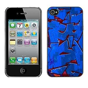 LASTONE PHONE CASE / Carcasa Funda Prima Delgada SLIM Casa Carcasa Funda Case Bandera Cover Armor Shell para Apple Iphone 4 / 4S / Cool Red Blue Street Gang Wall Paint