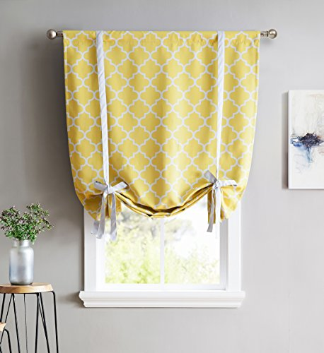 HLC.ME Lattice Print Thermal Room Darkening Blackout Tie Up Shade Curtain for Small Windows - Bright Yellow - 46