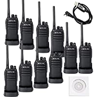Retevis RT21 2 way radios License Free FCC 2W FRS 16CH CTCSS/DCS VOX Scrambler Walkie Talkies (10 Pack) with Programming Cable