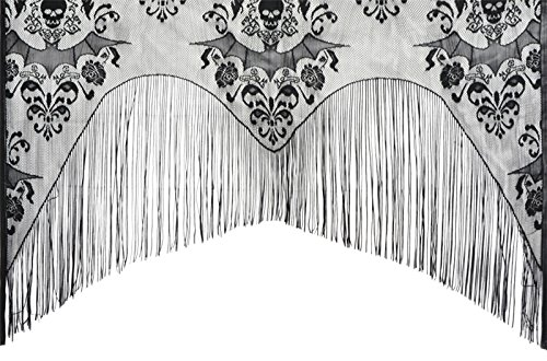 Gothic Black Lace SKULL BAT CURTAIN VALANCE SHAWL Halloween Haunted House Decor …