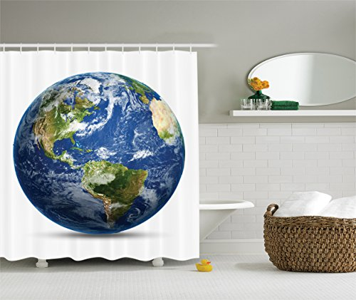 Ambesonne Science Room Decor Collection, Planet Earth Picture from Space Satellite Print, Polyester Fabric Bathroom Shower Curtain Set with Hooks, Navy Blue White Green