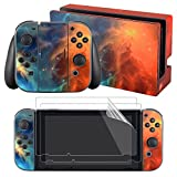 eXtremeRate® Full Set Faceplate Skin Decal Stickers for Nintendo Switch with 2Pcs Screen Protector (Console & Joy-con & Dock & Grip) - Orange Star Universe