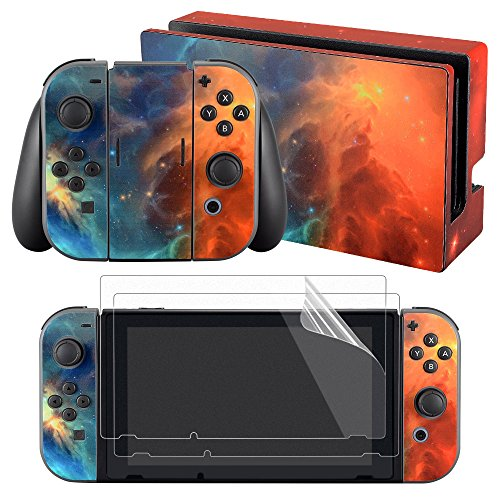 eXtremeRate Full Set Faceplate Skin Decal Stickers for Nintendo Switch with 2Pcs Screen Protector (Console & Joy-con & Dock & Grip) - Orange Star Universe (Flame Design Faceplate Cover Accessory)