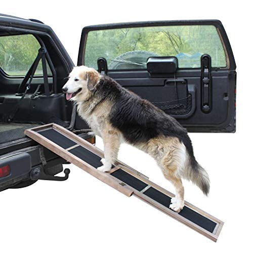 MOCUER Dog Ramps for Car or High Bed, Pet Safe Foldable Non-Slip Wooden Pet Ramp or Carrying Case, Adjustable Step Flat…