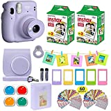 Fujifilm Instax Mini 11 Instant Camera Lilac Purple + Estuche + Fuji Instax Film Value Pack (40 hojas) Paquete de accesorios, filtros de color, álbum de fotos, varios marcos