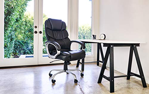 Office Chair Desk Ergonomic Swivel Executive Adjustable Task Computer High Back Chair with Back Support (Black)