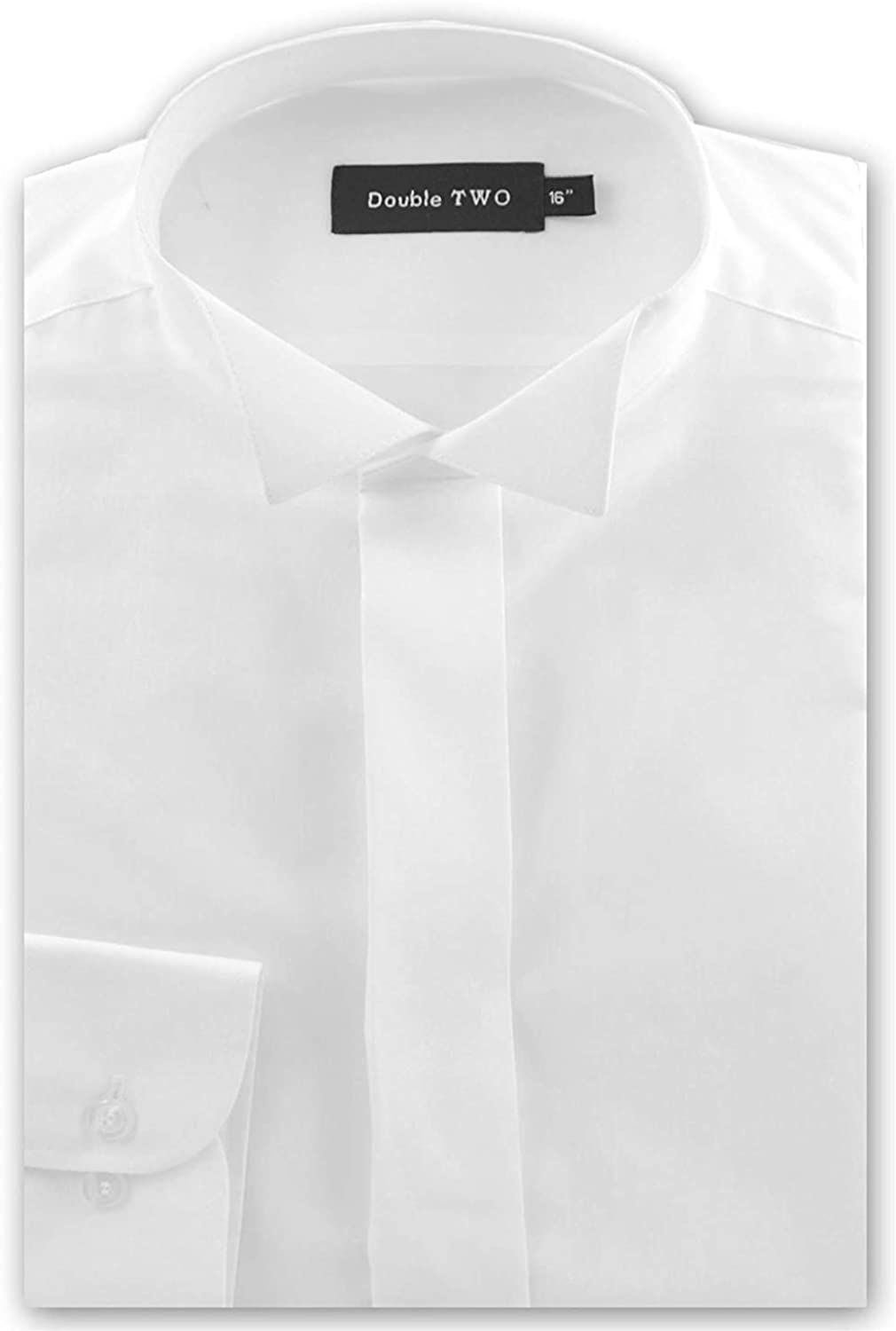 """New Mens Quality Wing Collar Dress Shirts White sizes 20/"""" 23/"""" Double Cuffed"""