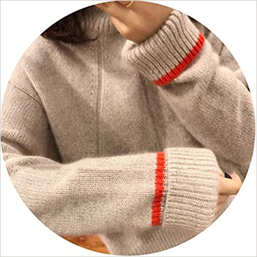 world-palm 2018 Double Thickening Loose Turtleneck Cashmere Sweater Female Sweater Cashmere Pullover Sweater,Khaki,XL