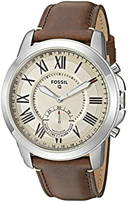 Fossil Q Men's Grant Stainless Steel and Leather Hybrid Smartwatch, Color: Silver-Tone, Brown (Model: FTW1118) by Fossil Watches