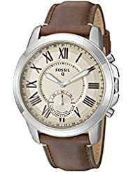 Fossil Q Men's Grant Stainless Steel and Leather Hybrid Smartwatch, Color: Silver-Tone, Brown (Model: FTW1118)