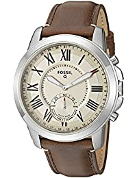 Q Men's Grant Stainless Steel and Leather Hybrid Smartwatch, Color: Silver-Tone, Brown (Model: FTW1118)