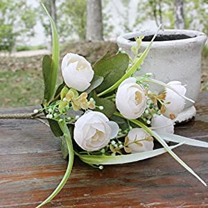 Wiith 10 Flower Heads Artificial Silk Flowers Camellia Roses Bouquet Wedding Home 85