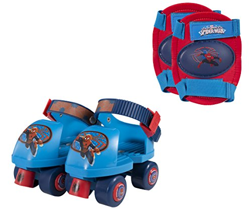 PlayWheels Ultimate Spider-Man Kids Roller Skates with Knee Pads - Junior Size 6-12