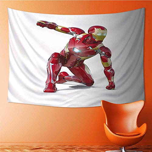 Tapestry Wall Hanging 3D Printing Superhero Robot Transformer Hero with Superpower in Costume Cyber Man Fun Character Beach Throw Blanket 60W x 51L Inch
