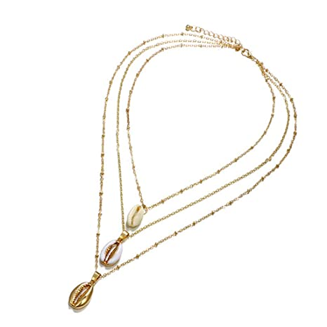 a623ef01d8a4 Gjyia 3 Capas Collar de Joyería de Concha de Moda Encantos Dorados ...