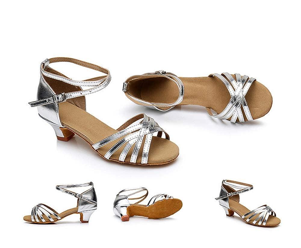 Silver-EU 31//13 M US Little Kid Girls Soft-Soled Glittering Latin Ballroom Dance Shoes