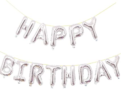 """16/"""" Silver Foil Happy Birthday Balloons Banner for Birthday Party"""