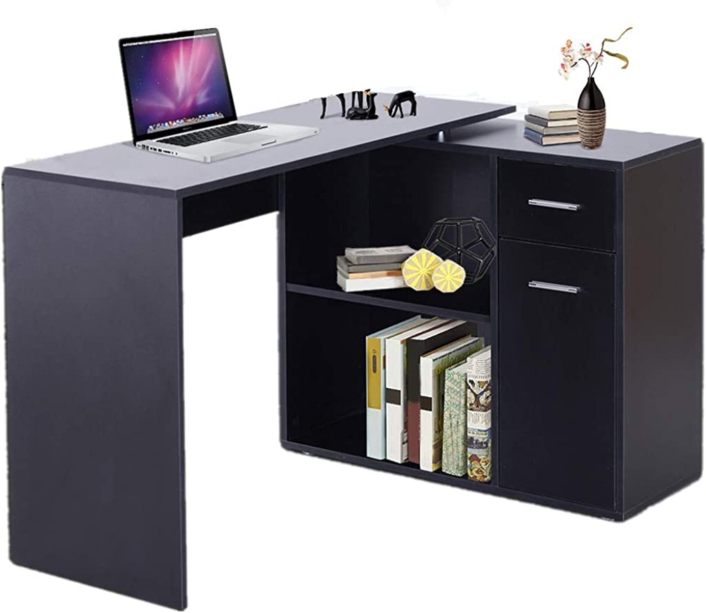 Xinantime Home Office Corner Desk Table, 180° Rotating Corner Computer Desk L-Shaped Table Storage Shelf Drawer Combo