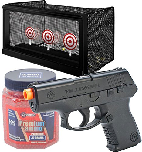 (Bundle Includes 3 Items - Taurus Millennium PT-111 Spring Powered Pistol, Black and Crosman Auto-Reset AirSoft Targets and Crosman AirSoft BBs (5000 .12G 6mm, Red BBs))