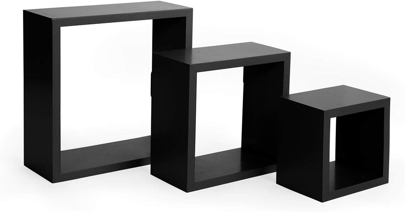 "Grey EDGEWOOD Parkwood Square Floating Wall Mount Cube Shelves 3 pc Set 5/"", 7/"", 9/"""
