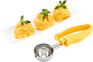 Comfy Grip 2 oz Stainless Steel #20 Portion Scoop - with Yellow Ambidextrous Handle - 1 count box - Restaurantware