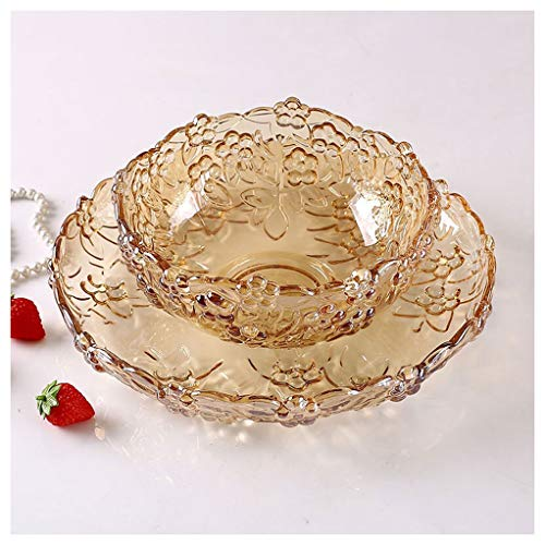 (DQH-0 Fruit Plate Glass Plate Household Set Fruit Basket Tray Cup Tray Sugar Dried Fruit Plate Amber Color Fruit)