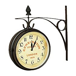 Kensington Station Clock Large Double Sided W/Wall Bracket - XH02000 Home & Garden Improvement