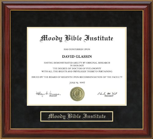 moody bible institute diploma frame with hardwood and ultrasuede