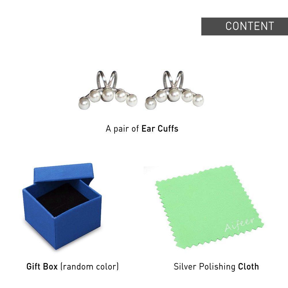 Aifeer Sterling Silver Non Pierced Ear Stud Earrings 5 Pearls Wrap Cuff Clip On Ear Clamp (A Pair) by Aifeer (Image #8)