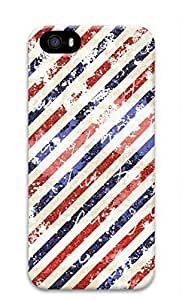 3D Hard Plastic Case Shell for iPhone 5 5S 5G Retro Red White Blue Stripes Case Cover for iPhone 5 5S 5G Kimberly Kurzendoerfer