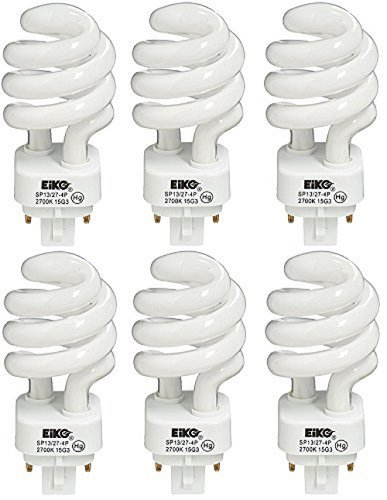 (EiKO SP13/27-4P Compact Fluorescent Light Bulb (6-Pack), 13 Watts, G24q-1 Base, T-4 Bulb, 3.74
