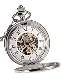 Classic Smooth Surface Mechanical Pocket Watch with Chain Xmas Birthday Wedding Father Day Gift (Silver)