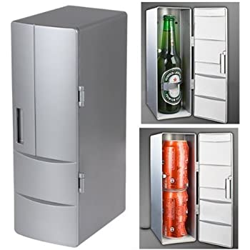 USB Fridge Cooler & Warmer, HQF® Mini USB-Powered Beverage Drink Cans Cooler/Warmer Refrigerator [Keep Warm and Cold] for PC Laptop Car Home office (Silver, Medium)