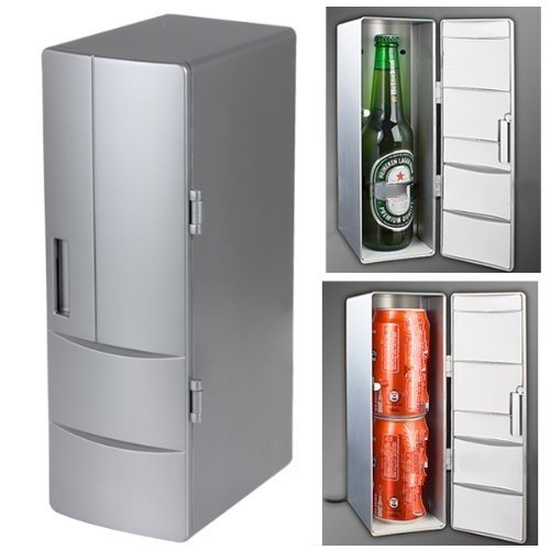 USB Fridge Cooler & Warmer, HQF® Mini USB-Powered Beverage Drink Cans Cooler/Warmer Refrigerator [Keep Warm and Cold] for PC Laptop Car Home office (Silver, Medium) by HQF (Image #2)