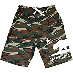Men's California Bottom Bear V124 Camo Fleece Jogger Sweatpant Gym Shorts Large Black