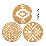 3-Pack Cork Bulletin Boards in 3 Assorted Designs - Decorative Self-Adhesive Round Wall DecorCorkboards with Tribal Prints, 6 Push Pins Included for Pinning Memos and Reminders, 12 x 12 x 0.2 inches