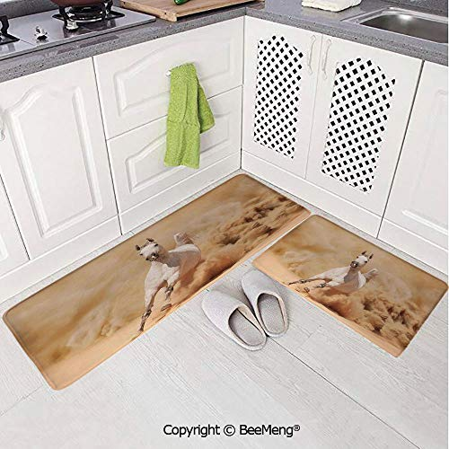 2 Piece Anti-Skid mat for Bathroom Rug Dining Room Home Bedroom,Bathroom Decor,Horses,Arabian Horse Breed Running Out of The Desert Storm Sand High Tail Creature Nature,Cream White,16x24in,18x53in